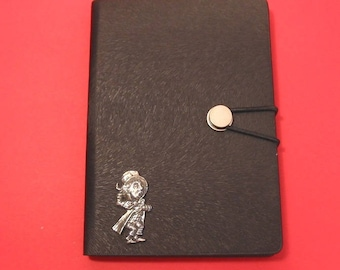 Mad Hatter Hand Cast Pewter Motif on A6 Black Journal Alice in Wonderland themed gift Christmas Gift Notebook