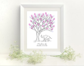 Baby Elephant Thumbprint Tree Baby Shower Guest Book Print - Digital File Only