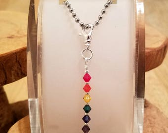 Rainbow seven color Swarovski crystal pendant necklace pick your chain length
