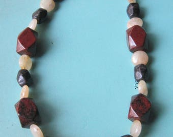 Gemstone Necklace of Mahogany Obsidian and Quartzite