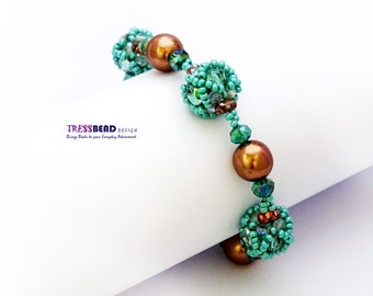 Turquoise Beaded Bead with Brown Glass Pearl Beadwoven/ Beaded Bracelet