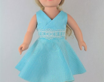 "OOAK 18"" Doll Clothes, Blue Party Dress with Organza Overlay, American Girl Doll Clothes,  My Life Doll Clothes, Doll Clothes, Journey Girls"