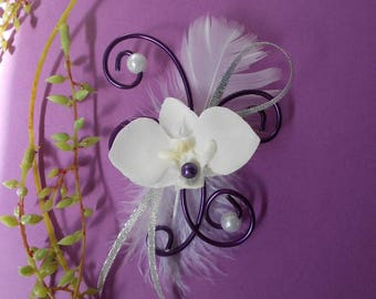 Shawl pin - brooch for bridal white and silver plum with Orchid