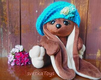 Plush Bunny, teddy, textile doll, soft toy rabbit, easter decor, handmade, rabbit in beret, bunny  long ears, chocolate bunny