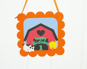 barnyard birthday sign - barn animals, cow, chicken, duck, pig, horse, old MacDonald, party decorations