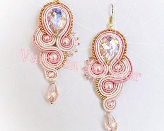Soutache Earrings, Earrings Soutache, Made in Italy, Soutache jewelry, Pink earrings, brass, drop Earrings, gift for her, Earrings pearl,