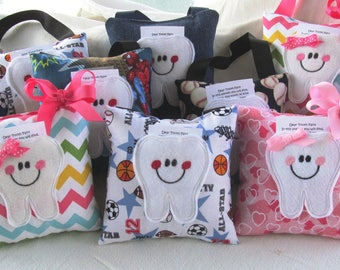 Party Pack, 10 Tooth Fairy Pillows, Stocking Stuffers, Party Favors,  10 pillows of your choice of fabric.
