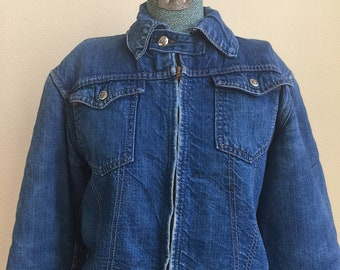 Vintage Montgomery Ward 101 denim jacket with lining and chin strap - 36