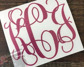 Glitter Monogram | Personalized Monogram | Custom Glitter Decal | Vinyl Decal | Yeti Decal