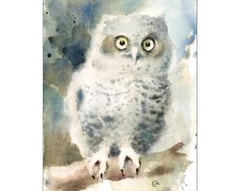 Watercolor Owl Bird Print 8 x 11 inches