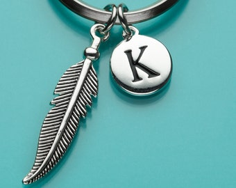 Feather Keychain, Feather Key Ring, Initial Keychain, Personalized Keychain, Custom Keychain, Charm Keychain, 226