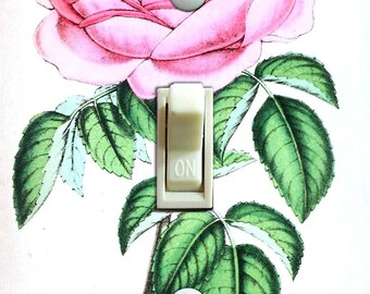Pink Rose Vintage IlIustration Decorative Switch Plate  ***FREE SHIPPING***