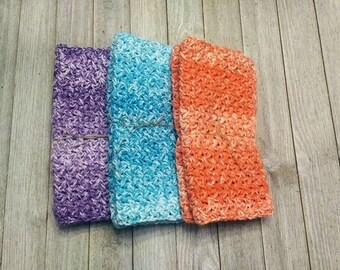 Pastel Washcloths, Colorful Crochet Washcloths, Spring Textured Dishcloths, Set of 2 Cotton Cloths, Mother Day Gift, Housewarming Gift