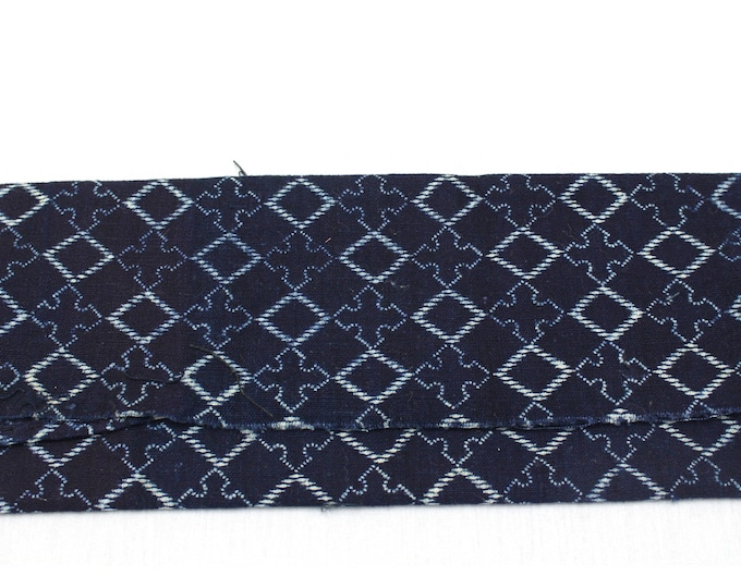 Japanese Katazome Textile. Antique Stenciled Cotton Fabric. Diamond Design (Ref: 1889)