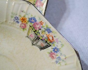 Vintage Saucer Set of 3 Edwin Knowles Floral Design Planter Vintage China Dish Chippy PanchosPorch