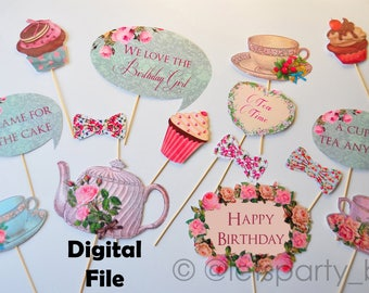 Digital file - Instant Download DIY Printable Tea Party Birthday Photo Booth Props