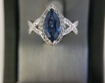 Gorgeous 2.23CT BLUE SAPPHIRE ring, set in 14k white gold with .45 diamond accents. Will adjust size at no charge!