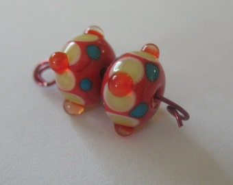 Lampwork bead pair-Lampwork earring pair-Handmade lampwork beads-glass beads-SRA-beading supplies-glass blowing-glass art