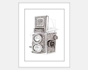 Vintage Camera Pen and Ink Drawing Sketch Art Print Instant Download