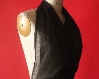 Vintage 60's Black Sheer Halter Top Camisole Lingerie, S/M