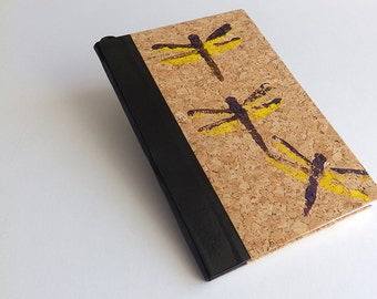 Lino cut notebook with dragonflies, artistic sketchbook, insects lover, cork lover