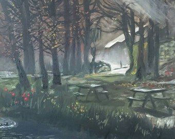 Mystical early morning due painting of a woodland picnic area with pond. An original oil painting print