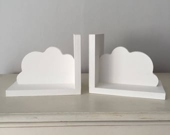Nursery Cloud Bookends Book Ends Shelves Hand Made Painted White New