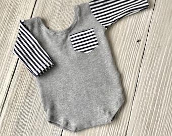 Neugeborenen Foto PROP Spielanzug, grau blau gestreift Langarm - sofort lieferbar