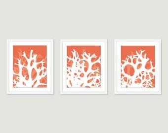 Coral Print - Coral Wall Art - Set of 3 prints 5x7 - 8x10 - Coastal Art - Coastal Decor
