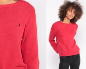 Red Sweater Ralph Lauren Polo Sport 90s Grunge COTTON Knit Slouchy Preppy Hipster Pullover 80s Jumper Vintage Plain Small