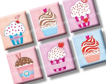 Cupcake Party digital collage sheet. Scrabble tile images 0.75x0.83 inch squares. Sweets for squared pendants. Instant download printables