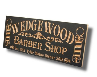 Barber Shop Sign, Barber Gifts, Custom Business Sign, Personalized Man Cave Sign, Guy Gift, Trade sign, Benchmark Custom Signs, Maple BS