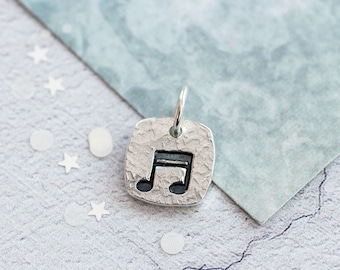 Silver Music Note Charm, Music Lover Gift, Musical Note Charms, Note Charm, Gifts for Musicians, Music Gift, music lover gift her, Music, UK