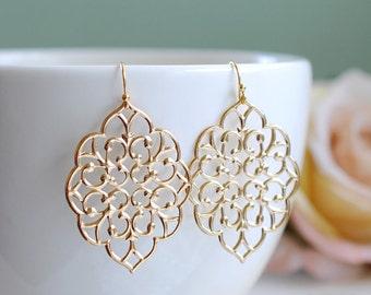 Large Gold Filigree Earrings. Boho Chic Moroccan Bohemian Filigree Dangle Earrings