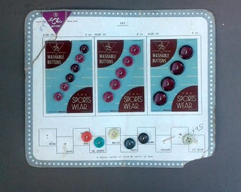 Assorted Colored Sports Wear 21- Buttons on Vintage Salesman Sample Display Card