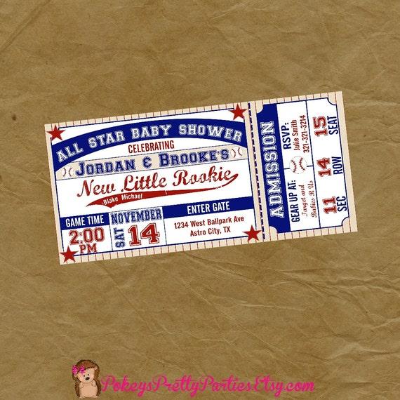 Baseball ticket baby shower party invitation digital filmwisefo
