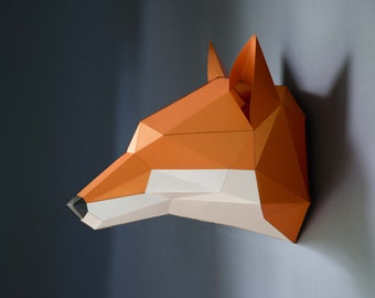 Fox papercraft DIY KIT, woodland nursery paper trophy, faux taxidermy woodland animals, 3d origami fox figurine, animal totem handmade gift