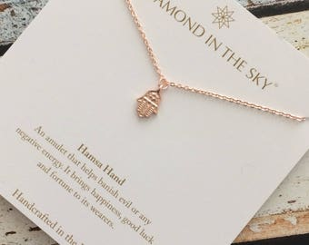 Rose Gold Hamsa Hand Necklace on Gift Card