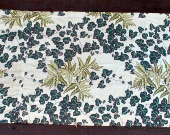 Antique Rayon Curtain Fabric - Ivy and Fern Greens on Beige with Red Outlines