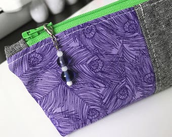 Pencil Pouch in purple feathers   Pencil Case   Pencil Bag   Zippered Pouch