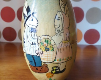 decorative egg, Easter, hand paint, 70's France