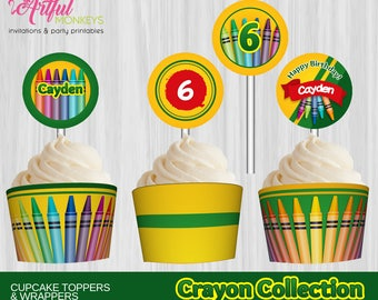 Printable Crayon Art Party Cupcake Toppers and Wrappers   Personalized