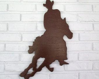 Rustic Cowboy Riding on Horse Sign Wall Decor Wood Cowboy Western Country Wall Art #5501