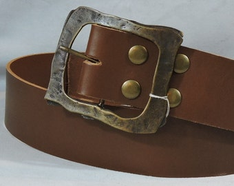 Customizable Econo 2.25 inch, Brown or Black, Plain Leather Kilt or Pirate Belt