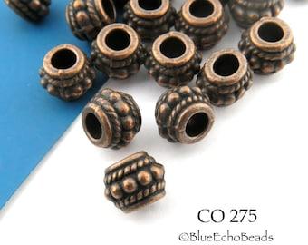 8mm Large Hole Spacer Bead, Antique Copper Barrel Hub (CO 275) 10 pcs BlueEchoBeads