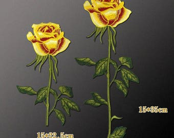 Yellow Rose Patches, Sew On Flower Appliques