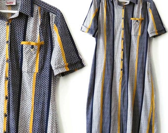 Vintage Button Down Midi Dress. Bremer Collection. Short sleeve Cotton Shirt Dress, Blue Yellow Striped Herringbone. Large Office Day Dress