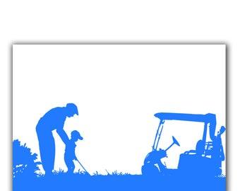 Grand-père et son petit-fils jouer golf ensemble, silhouette, décoration murale, fête des pères, cadeau pour père, grand-père, petit-fils, famille
