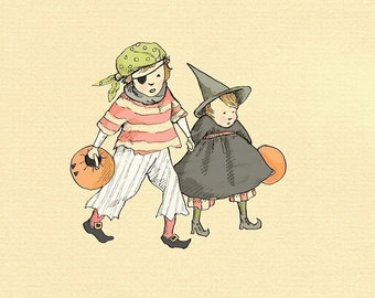 Children's Wall Art Print - Happy Halloween - 8x8 - Boy & Girl Kids Room Decor