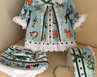 newborn baby girl alice in wonderland outfit, reborn handmade clothes, shirt bonnet and diaper cover bloomers one of a kind unique children